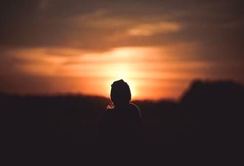 Dziecko zachód słońca